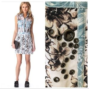 3.1 Phillip Lim Silk Floral Eyelet Grommet Dress